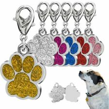 USA Charm Dog Tag Footprint Rhinestone Pendant For Puppy Pet Collar Jewelry New