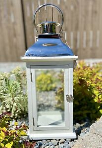 POTTERY BARN Large Bristol Lantern - White & Silver