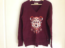 Hollister Women Sweater Sz L V-neck Red Burgundy Geometric Long Sleeve Slit New