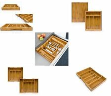 NEW BAMBOO EXPANDABLE ADJUSTABLE KITCHEN UTENSIL CUTLERY STORAGE TRAY ORGANISER