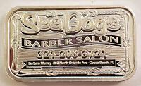 2019 SEA DOGS BARBER SALON BUSINESS CARD ~ DT MINT ~ 1 oz .999 SILVER ART BAR