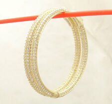 "1"" Inside out Pave Diamonique CZ Hoop Earrings 14k Yellow Gold Clad Silver"