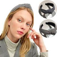 Women's Houndstooth Knot Headband Fabric Hairband Hair Hoop Band Accessories