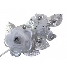 "3 silver Silk Pearl & organza flower  Corsages 5""x 2.5 with pearl pin"