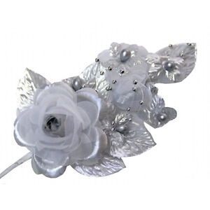 """3 silver Silk Pearl & organza flower  Corsages 5""""x 2.5 with pearl pin"""