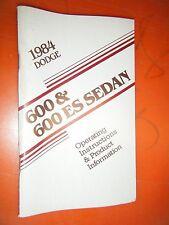 1984 Dodge 600 Es Sedan Original Factory Operators Owners Manual Glove Box
