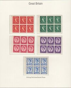 GB STAMPS QUEEN ELIZABETH II WILDING BOOKLET PANES ON PAGE FROM COLLECTION