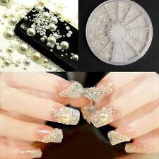 White 3D Nail Art Tips Pearl Acrylic Gem Glitter Manicure DIY Decoration Decal