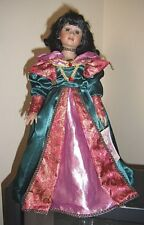 Rare Vintage Collectable Victorian Styl Porcelain Black Doll Pink Metallic Dress