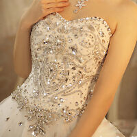 Luxury Crystal White/Ivory Wedding Dress Bride Ball Gown Back Lace Up Custom New