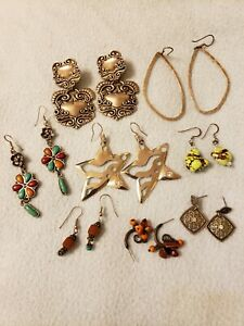 Fashion Lot of 8 Silver tone colored stone Pierced Ear Rings, 1 pair of clips