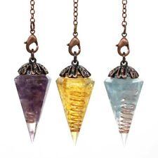 Antique Copper Natural Crystal Stone Orgonite Hexagonal Pyramid Pendulum Pendant