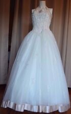 DAVID'S BRIDAL WEDDING DRESS # 2295E IVORY /RUM HALTER/SWEETHEART NECKLINE.