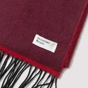 Universal Works Scarf In Burgundy/Red Double Sided New gift