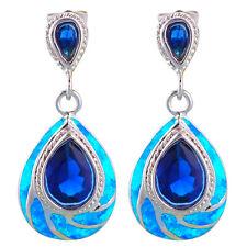 OE608 Classic Blue Fire Opal Silver Australia Blue Zircon Fashion Drop Earrings