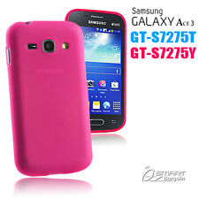 Pink Matte Gel Case For Samsung Galaxy ACE 3 S7275 T 7275 Y Jelly Soft Cover +SG