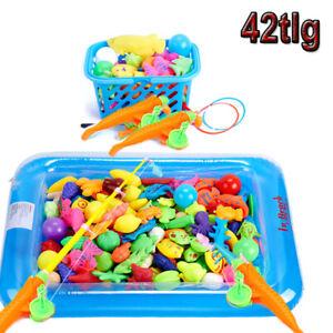 42tlg. set Angelspiel Fische Angeln Kinder Spielzeug Wasserspiel Fischfang Spiel