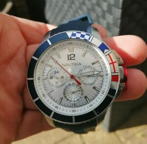 Nautica mens Day Date Flag watch blue strap VGC NT1