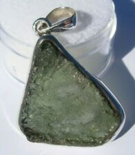 New listing About 20.97 carats Moldavite Pendant 30x21x5mm set in solid .925 silver