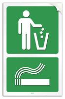 """Cartello PVC adesivo """"RIFIUTI E MOZZICONI"""" garage/negozio/studio/officina"""