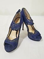 Enzo Angiolini Blue Suede High Heel Open Toe Women's Shoes Size 7.5M