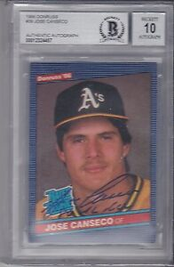 1986 Donruss Rated Rookie #39 Beckett Autograph RC JOSE CANSECO BGS 10 Auto