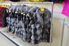 Real silver Fox Fur Vest Outwear Coat Sleeveless Luxury Lady Gilet Winter Warn