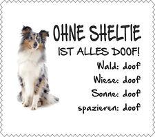 """Displaytuch Sheltie BLUE-MERLE """"ALLES DOOF"""" Brillenputztuch Shetland Sheepdog"""