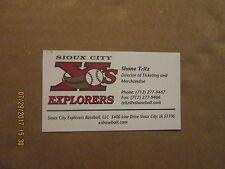 Sioux City Explorers Baseball Vintage Logo Baseball Business Card