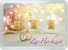 Goldbarren, 3x 1 Gramm, Finegold, Geschenk Zur Hochzeit