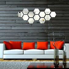Modern 12pcs 3d Mirror Effect Acrylic Wall Sticker Removable DIY Home Decor Art
