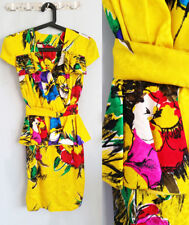 Vintage GEORGE GROSS Yellow PEPLUM Cocktail PURE SILK Floral Dress Sz 8-10 S-M
