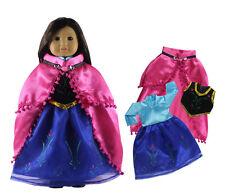 Doll Clothes FOR 18'' American Girl Handmade Frozen  Anna's Blue Princess Dress