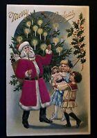 SILK Santa Claus ~Candle-Lit Tree~Children~Doll~Antique~Christmas Postcard-a872