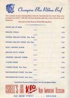"1953 Menu Isbell's - Rush Street, Chicago, Illinois 12"" x 9"" - Blue Ribbon Beef"