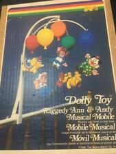 Dolly Toy Vtg Raggedy Ann Andy Circus Musical Mobile Nib 1980 Baby Crib Video