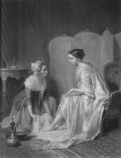 FRENCH MAID WASHES FEET OF PRETTY RICH GIRL LESBIAN? ~ 1858 Art Print Engraving
