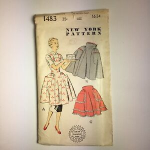 Vintage 1950s~NEW YORK Sewing Pattern~  #1483 Tea & Coverall Aprons~ Size 16-34
