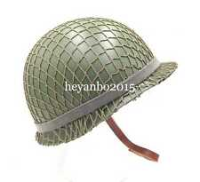 TACTICAL USMC CAMOUFLAGE HELMET WW2 US ARMY M1 DOUBLE-DECK GREEN HELMET WITH NET