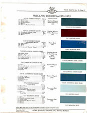 1951 1952 WILLYS CARS STATION WAGON JEEP TRUCKS SEDAN DELIVERY PAINT CHIPS ACME