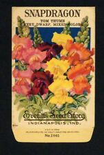 SNAPDRAGON, Everitt's Antique Seed Packet, Indianapolis, Home Decor, 337