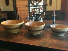 New ListingThree Antique Vintage Yellowware Mixing Bowls~Matching set~Great Primitive Look!