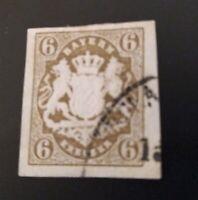 Bayern Wappen 6 Kreuzer dunkelockerbraun Mi.-Nr. 20 mit Einkreisstempel