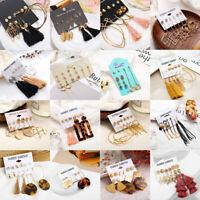 6Pairs/Set Korean Chic Shiny Crystal Tassel Dangle Earrings Women Ear Stud Gifts