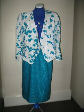 AUSTIN REED SUIT JACKET SKIRT BLUE TEAL WHITE WEDDINGS SPECIAL OCCASION UK 14