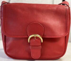 Vintage Coach 4164 Bedford Flap Red Leather Shoulder Bag Purse