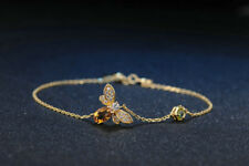 Silver Bracelet Peridot Citrine Gemstone Bee Womens Jewelry Wife Gift SterlingS