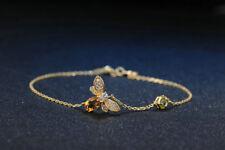 Silver Bracelet Peridot Citrine Gemstone Bee Womens Jewelry Wife Gift SterlingS