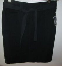 NWT Marshalls Telluride Clothing Co Deep Black Cotton Skirts Size 4  w/ Tie Belt