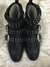 Boohoo Boots UK6 Black Stylish Studded Buckles